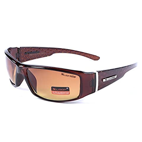 X-Loop Mens Driving Sunglasses Brown Wraparound Frame HI Def UV400 Protection Gradient Copper Lens + Pouch