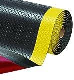 Anti-Ermüdungsmatte - Arbeitsplatzmatte für Steharbeitsplätze | sicheres & gesundes Arbeiten im Stehen | Anti-Ermüdungsmatte für effektives Arbeiten | extrem robuste Arbeitsplatzmatten (91cm x 300cm, Schwarz/Gelb)