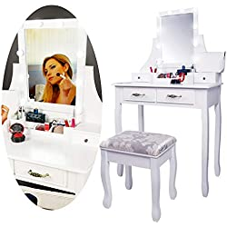CCLIFE Coiffeuse Femme, Table de Maquillage, 1 grand Miroir Rectangulaire avec Led Lumière Dimmable, 4 Tiroirs et Une Boîte de Stockage Mobile, Tabouret rembourré. Choix de Couleur, Couleur:Blanc