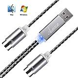 Asmuse™ MIDI a USB Cable de Interfaz Convertidor MIDI de Configuración Automática con LED para Instrumento Eléctrico Teclado de Piano a PC Mac Windows 5 PIN In Out (1,9 m)