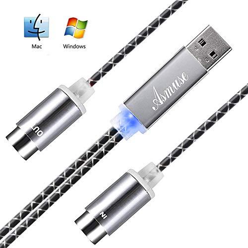 Asmuse™ MIDI Kabel to USB 2.0Interface 5 PIN In Out Konverter mit eingebautem Treiber LED Anzeige leuchte ultra flexibel für E Piano Keyboard Instrument zu PC Laptop Mac Windows 1.9 m