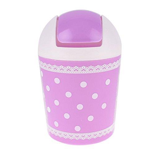 sourcingmapr-office-desk-round-shaped-dot-lace-pattern-mini-rubbish-bin-purple