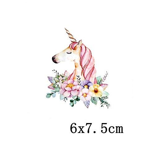 Pegatinas infantiles transfer parche termoadhesivo unicornio para pijamas, sudaderas, camisetas, canastillas.7.5 X 6 cm de OPEN BUY
