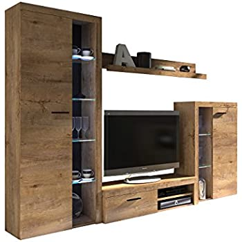 Dieser Artikel Wohnwand Rango Design Wohnzimmer Set Modernes Anbauwand Schrankwand Vitrine TV Lowboard Mediawand Ohne Beleuchtung Lefkas Eiche