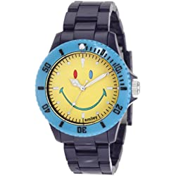 "Smiley ""Happy Time"" Men's Colour Block Analogue Watch WGS-CBBV01 with Blue Polycarbonate Strap and Yellow Face"