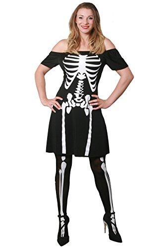 MINI SKELETT -SKATER KLEID PERFEKT FÜR FASCHING = KARNEVAL = HALLOWEEN PARTY VERKLEIDUNG DER SEXY ART = DAS KLEID IST ERHALTBAR IN 6 VERSCHIEDENEN GRÖSSEN = VON ILOVEFANCYDRESS®= DAS KLEID IN -LARGE (Paare Tv Halloween Kostüme)
