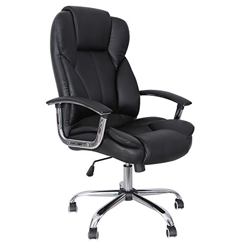 SONGMICS Office Chair with High Back Large Seat and Tilt Function Executive Swivel Computer Chair PU Black OBG57BUK