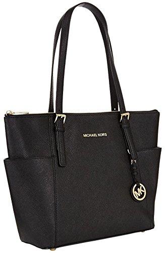 Michael Kors Women's Jet Set East West Top-Zip Leather Shoulder Bag Tote - Black (Double Zip Tote)