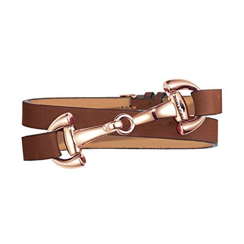 Trensen-Armband | DIMACCI | Favorit Kollektion | Schmuck für Reiterinnen | Geschenkidee für Pferdeliebhaber | Reiter-Schmuck (Cognac, Edelstahl rose-vergoldet)