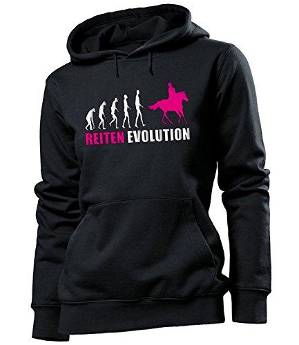 love-all-my-shirts Reiten Evolution 537 Reitsport Frauen Damen Hoodie Pulli Kapuzen Pullover Kapuzenpullover Sportbekleidung Sport Fanartikel Schwarz Aufdruck Pink S