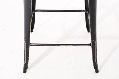CLP Bartisch LOGAN aus pflegeleichtem Metall I Stehtisch mit Fußstütze I In verschiedenen Farben erhältlich schwarz-gold - 4