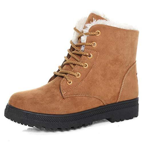 Frauen Warme PlüSch Schneestiefel Stiefeletten Winter Lace-Up Quadratische Ferse Rutschfeste Damen Flache Schuhe