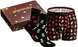 gigando | Boxershort und 2 Paar Socken mit bunten Motiven für Herren | Unterwäsche Box | Apfel-Ananas | L | 43-46