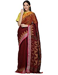 The Weave Traveller Handloom Zari Triangle Jamdani Saree With Attached Blouse