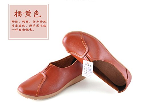 Women Leather Comforty Chaussures Plates Simples Chaussures De Sécurité Souples Et Douces Chaussures Antidérapantes Mule Mama Casual Shoes Orange