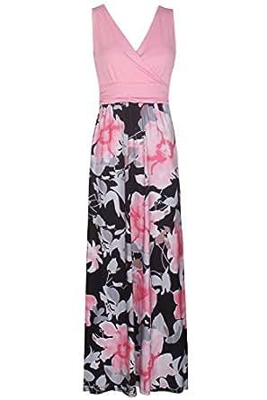 e5ba3aee7a1 ... Zattcas Womens Contrast Sleeveless Empire Chevron Striped Maxi Long  Dress