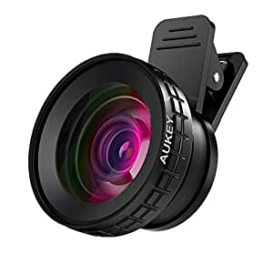 AUKEY iPhone Camera Lens 0.45x 140° Wide Angle + 10x Macro Clip-on Cell Phone Camera Lens for Samsung, Android Smartphones, iPhone