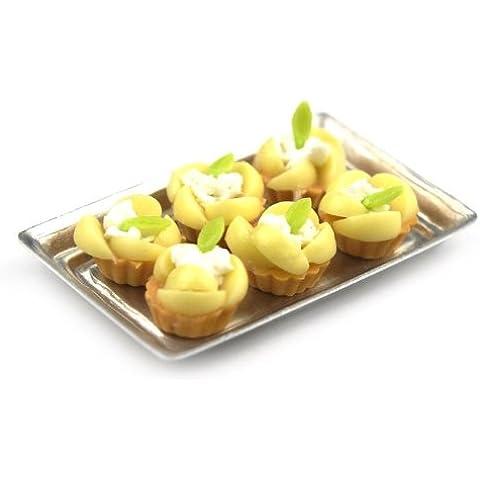 MyTinyWorld 6 Sueltos Miniatura Para Casa De Muñecas Escalfado Pera tartaletas en una bandeja