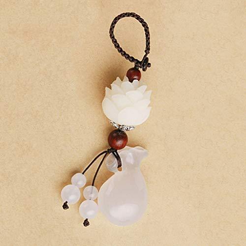 und Ornament klar Achat Glück Tasche Bodhi Lotus Schlüssel Anhänger kreative kleine Geschenk Hand gewebte Seil ()