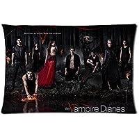 Custom Fashion fundas de almohada The Vampire Diaries TV Series dos lados rectangular funda de almohada 20* 30pulgadas)