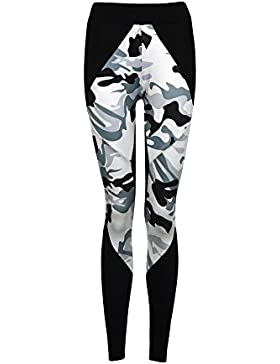 Sky Womens La sección Larga de Mallas de Yoga Camuflaje de Costura Yoga Gym Sports Leggings Running Fitness Pants...