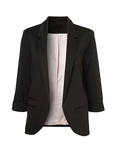 ZongSen Femme Blazer 3/4 Manche Blouson Manteau Jacket Mince Suit Veste Noir