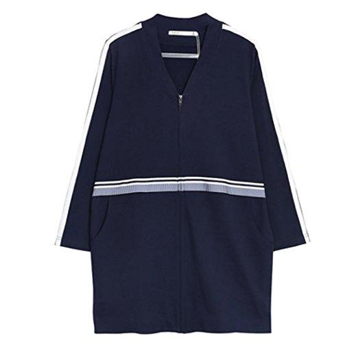 HXQ Damen Langärmelige Pyjama Reißverschluss Nachthemd Dark Blue