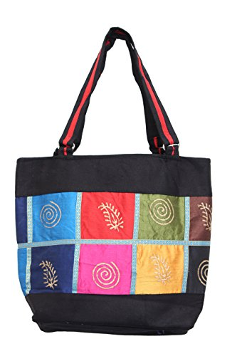 Serene Work Bag Handmade Traditional Spacious Shoulder Bag With Multi Color Patch Work Double Zipper Hand Bag... - B077Q2L756