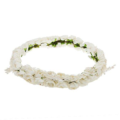 MagiDeal Bandeau Fleur Couronne Cheveux de Mariée Style Boho Blanc