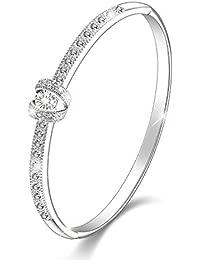 """Regalo San Valentín Menton Ezil """"Princesa"""" 18K Blanco Oro Pulsera Mujer con Swarovski Cristal Regalo de Brazalete"""