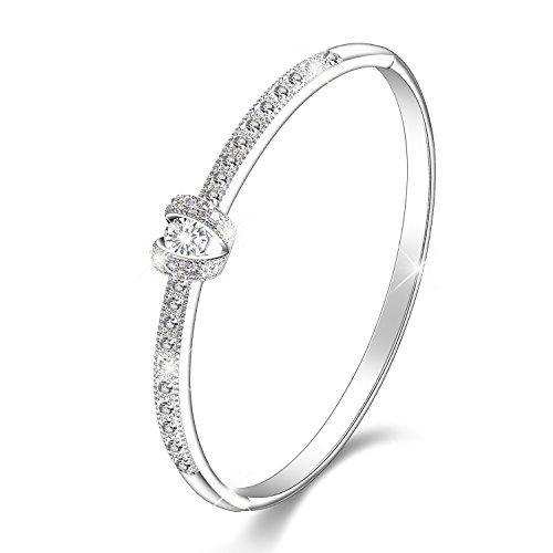 """♥ Muttertagsgeschenk ♥Menton Ezil 1""""Prinzessin""""8K Weißgold Damen Armband Armbänder mit Swarovski Kristall Frauen Schmuck - Geschenk der Liebe"""