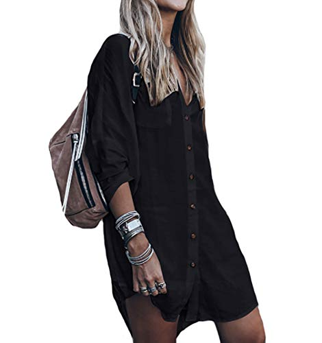 Bestyou Damen Rayon Beach Mini Kleid Print Kimono Jacke Cardigan Bikini Badeanzug Cover Up Bademode - Schwarz - Einheitsgröße -