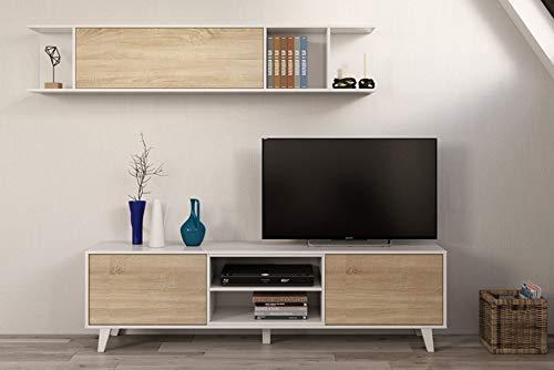 PEGANE Ensemble TV Coloris Blanc Brillant et chêne Canadien - Dim : 51 x 41 x 180 cm