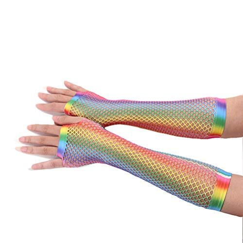 Kostüm Disco Dance - Gutyan Netz Handstulpen Rainbow/Regenbogen Fingerlos Damen Aushöhlen Braut Fingerlose Handschuhe Für Hochzeitsfeier Disco Dance Kostüm