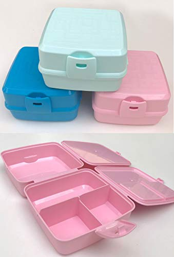 Vesperbox Lunchbox Brotdose 4 Fächer Frühstücksbox Vesperdose mit Besteck (BLAU)