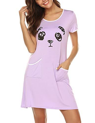 BESDEL Damen Nachthemd Modal Schlafkleid Kurzarm Bedrucktes Nachthemd Nachtwäsche mit Tasche Lila L