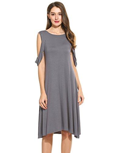 Beyove Damen Ärmellos Skaterkleid Ballkleid Festliches Kleid Cocktailkleid Party Business Kleid A-Linie mit Gürtel (EU 42(Herstellergröße: XL), F+Grau) -ausschnitt A-linie Kurz