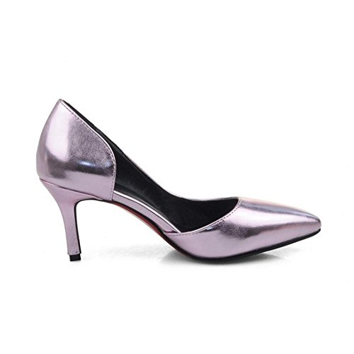 TAOFFEN Damen Simple Kitten Heel Schlupfschuhe D'Orsay Pumps Mit Med Absatz Pink