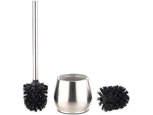 BadeStern WC-Standgarnitur: Edelstahl-WC-Garnitur zum Aufstellen, mit 2 Bürsten-Aufsätzen, schwarz (Badezimmer-WC-Set)