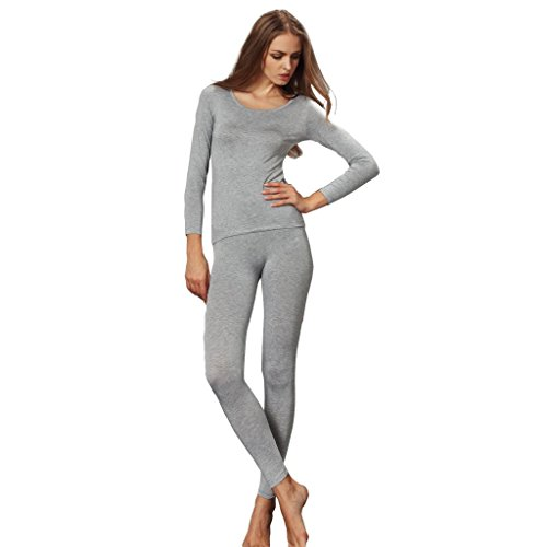 Liang Rou Women's Crew Neck Top & Bottom Ultra Thin Thermal Underwear Set