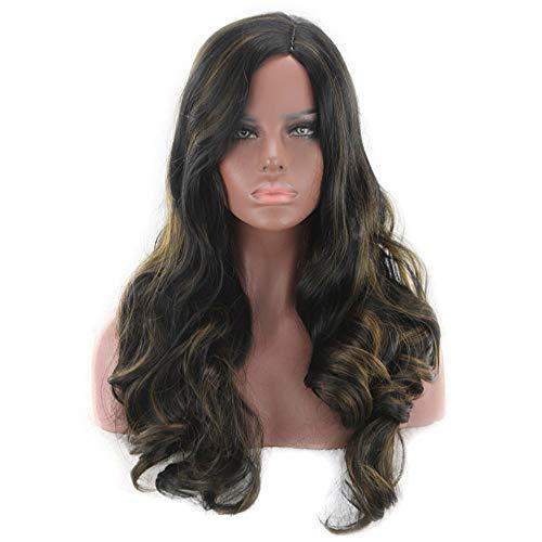 BXGZXYQ Schwarz Highlights Braun Große gewellte Perücken Side Bangs Langes lockiges Haar Composite-Haar Lace Perücke Rollenspiel Perücke (Farbe : Black Highlight Brown) -