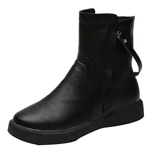 (MYMYG Frauen Leder Stiefel Flache Low Zipper Kurze Schlauchstiefel Freizeitschuhe Stiefel Runde Zehe warm halten Boot Kurzschaft Winterstiefel Chelsea Stiefel Boots)