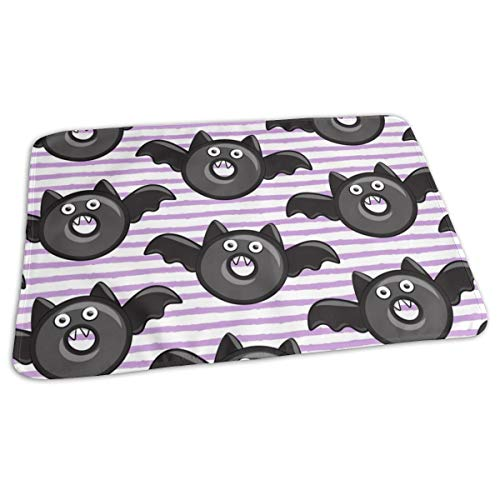 (Bat Vampire Halloween Donuts On Light Purple Strip Baby Toddler Waterproof Washable Diaper Portable Reusable Changing Pad Mat 27.5 x19.7 Inch)