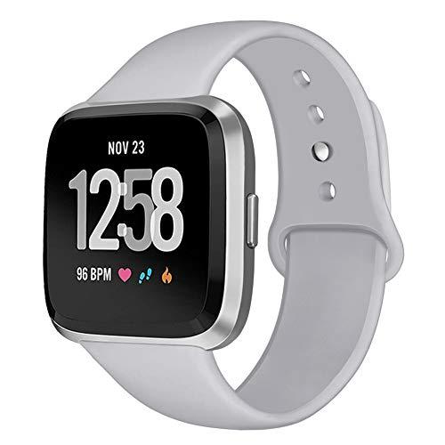 Kmasic Sport Armband Kompatibel Fitbit Versa, Soft Silikon Ersatz Armband für Fitbit Versa Smart Fitness Uhr, Klein, Grau