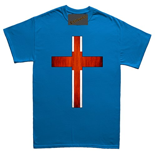 Renowned Cross with England Flag inside Unisex - Kinder T Shirt Blau