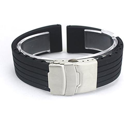 Fenrad® 24mm Nero Strisce Cinturino in Silicone Sport Impermeabili Watch Band Polso Bracciale con Fibbia di Chiusura Rubber Wristband Braccialetto Cinghia Orologio Strap Bracelet(Black 24mm)