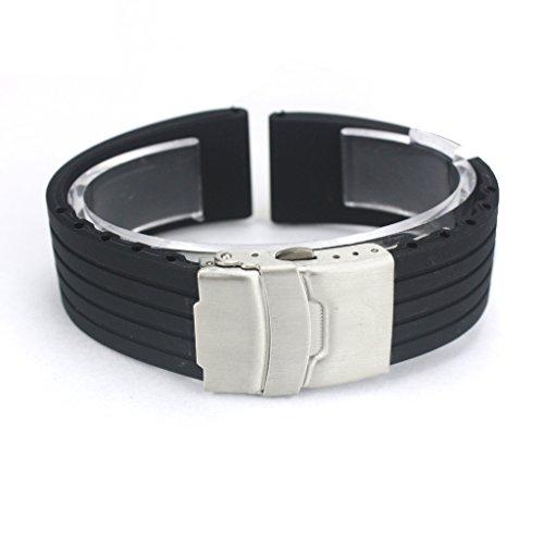 Japace® 20mm Bracelet de Montre de Silicone Sports band Bande de swatch Etanche Strap Impermeable Wristband Metal en acier inoxydable à Boucle Déployante--Noir
