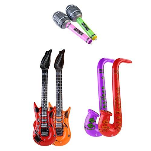 Toyvian Aufblasbare Rockstar Spielzeug Set Gitarre und Saxophon und Mikrofon für Kinder Party Musik Foto Requisiten Zubehör 6 stücke