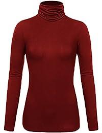 DJT Femme T-shirt Uni Col roule Hauts Manches longues Sous Pull