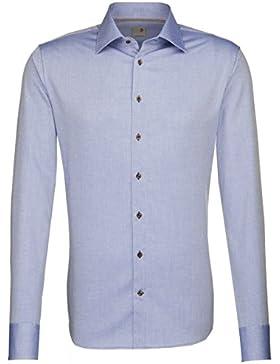 Seidensticker Herren Langarm Hemd Schwarze Rose Slim Fit blau strukturiert 241620.13